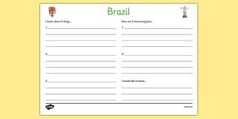 Brazil Write Up Worksheet - football, world cup, sports, pe