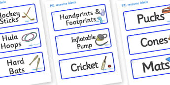 Snowflake Themed Editable PE Resource Labels - Themed PE label, PE equipment, PE, physical education, PE cupboard, PE, physical development, quoits, cones, bats, balls, Resource Label, Editable Labels, KS1 Labels, Foundation Labels, Foundation Stage