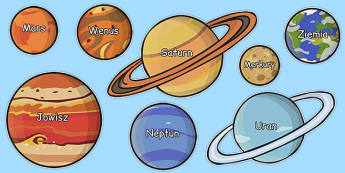 Nazwy planet na obrazkach po polsku - kosmos, początkowe