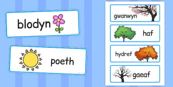 Welsh Season Word Cards - welsh, season, word cards, cards, word