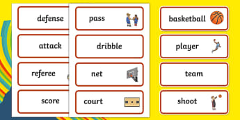 Rio 2016 Olympics Basketball Word Cards - Basketball, Olympics, Olympic Games, sports, Olympic, London, 2012, word card, flashcards, cards, activity, Olympic torch, events, flag, countries, medal, Olympic Rings, mascots, flame, compete