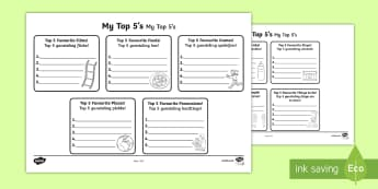 Top 5s Ranking Favourites Activity Sheet English/Afrikaans - Top 5s Ranking Favourites Activity Sheet - all about me, Ranking, favourites, new class, getting to