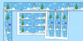 Winter Display Borders - Display border, classroom border, border, winter, seasons,  A4, display, penguin, huskey, snow, winter, frost, cold, ice, hat, gloves