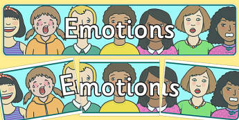 Emotions Display Banner - Ourselves display,  KS1, display banner, ourselves, all about me, my body, senses, emotions, family, body, growth