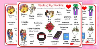 Valentines Day Word Mat EAL Romanian Translation - romanian
