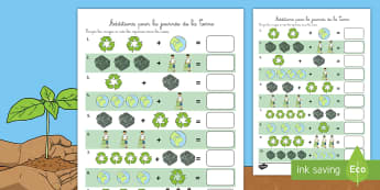 Feuille d'activités pour compter : La journée de la Terre - Journée de la Terre, terre, journée, additions, compter, nombres, Earth Day, simple addition, addi