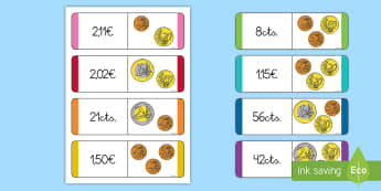 Tarjetas de emparejar: El valor de las monedas - dinero, moneda, monedas, euro, euros, cantidad, cantidades, céntimos, emparejar, buscar, tarjetas,