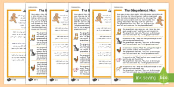 The Gingerbread Man Traditional Tales Differentiated Reading Comprehension Activity Arabic Translation-Arabic-translation - The gingerbread man, traditional tale, KS1 reading, fiction, comprehension, questions,Arabic-transla