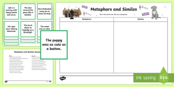 Metaphor and Simile Matching Cards - CfE Literacy, reading comprehension strategies, metaphors, similes, figurative language, sorting car