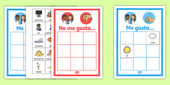 All About Me 'I like' and 'I don't like' Sorting Activity Spanish-Spanish