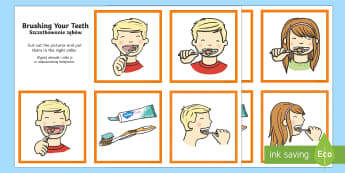 Brushing Your Teeth Sequencing Cards English/Polish - Brushing Your Teeth Sequencing Cards - brush, brushing teeth, teeth, sequence, sequencing cards, car