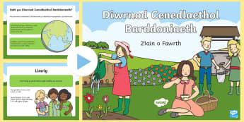 Pŵerbwynt Diwrnod Cenedlaethol Barddoniaeth - barddoniaeth, cerddi, diwrnod cenedlaethol barddoniaeth, 21ain o fawrth, mawrth, gwasanaeth,Welsh