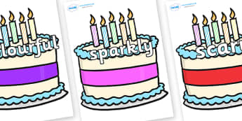 Wow Words on Birthday Cakes - Wow words, adjectives, VCOP, describing, Wow, display, poster, wow display, tasty, scary, ugly, beautiful, colourful sharp, bouncy