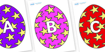 A-Z Alphabet on Easter Eggs (Stars) - A-Z, A4, display, Alphabet frieze, Display letters, Letter posters, A-Z letters, Alphabet flashcards