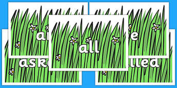 Tricky Words on Wavy Grass - Tricky words, DfES Letters and Sounds, Letters and sounds, display, words