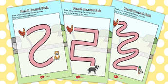 The Little Red Hen Pencil Control Path Worksheets - Little, Red