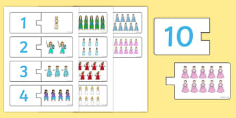 Princess Themed Counting Matching Puzzle - princess, counting, count, match, matching, puzzle, activity