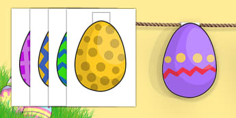 Easter Egg Shaped Bunting - easter, bunting, easter display, RE