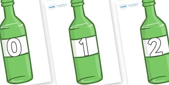 Numbers 0-50 on Green Bottles - 0-50, foundation stage numeracy, Number recognition, Number flashcards, counting, number frieze, Display numbers, number posters