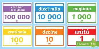 Valore Posizionale Schede - addizione, sottrazione, matematica, valore, posizionale, italiano, italian