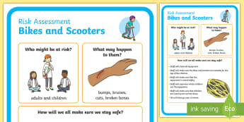 Outdoor Learning Bikes and Scooters Risk Assessment Display Poster - CfE Outdoor Learning, nature, forest, woodland, playground, UNICEF, responsibilities, risk assessmen