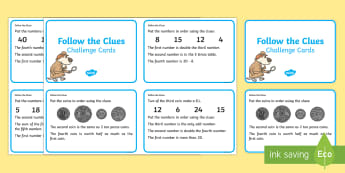 Year 1 and Year 2 Follow The Clues Challenge Cards - year 1, year 2, addition, subtraction, problem solving, working mathematically, money, shape, measur