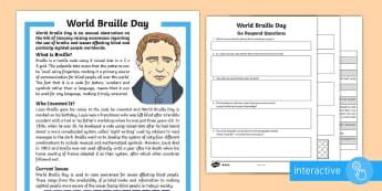 World Braille Day KS2 Go Respond Differentiated Reading Comprehension Activity - KS1/2 World Braille Day  (4.1.17), world braille day, national braille week, braille, louis braille,
