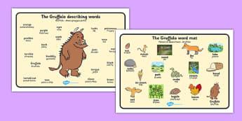 The Gruffalo Word Mat Images Polish Translation - polish, The Gruffalo, resources, mouse, fox, owl, snake, Gruffalo, fantasy, rhyme, story, story book, story book resources, story sequencing, story resources, word mat, writing aid