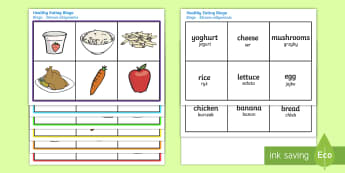 Healthy Eating Food Bingo English/Polish - Healthy Eating Food Bingo - bingo, game, activity, eating healthy, healthy, food, food bingo, carrot