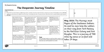 The Desperate Journey Timeline Worksheet - Highland Clearances, scotland, history, travel, adventure, literature, text, Scottish, cfe, curriculum for excellence, timeline, chronological