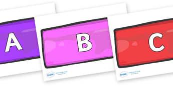 A-Z Alphabet on Bricks (Multicolour) - A-Z, A4, display, Alphabet frieze, Display letters, Letter posters, A-Z letters, Alphabet flashcards