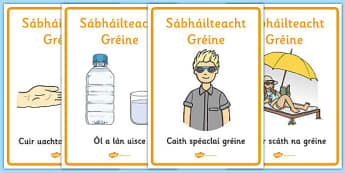 Sun Safety Posters Gaeilge - irish, gaeilge, Sun safety, Sun, Summer, sunburn, Display Words, display, summer, fun in the Sun, Sun danger, sun hat , sunglasses