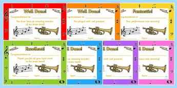 Brass Band Certificates - brass band, certificates, reward, award, reward certificates, certificate template, behaviour management, class management