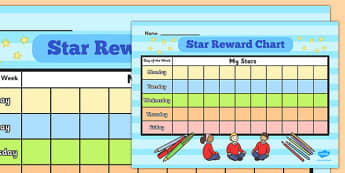10 Box Star Day Reward Chart - 10, box, star, day, reward, chart