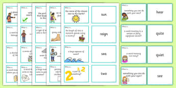 Homophones Question Matching Cards - homophones, question, matching, cards