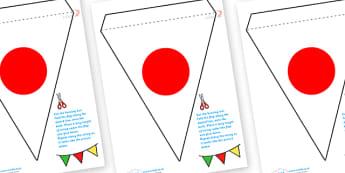 Japanese Flag Bunting - japanese flag, bunting, japanese bunting, japan bunting, japan themed display bunting, japanese flag display bunting
