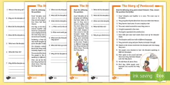 Pentecost Differentiated Comprehension Activity Sheet - worksheet, literacy, writing, sequencing, vocabulary, story, bible, christianity