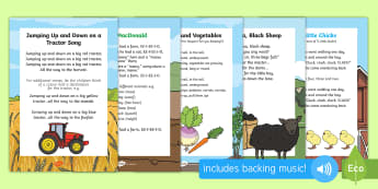 On the Farm Songs and Rhymes Resource Pack - On the Farm, farm animals, growing, plants, farming, agriculture, singing, song time, music