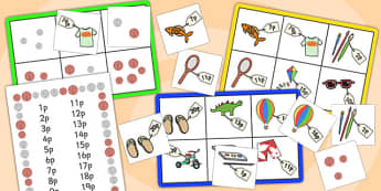 Toy Shop Bingo (Up to 20p) - Money, coins, pounds, pence, foundation numeracy, coin, pay, bingo, shop, addition, prices, price