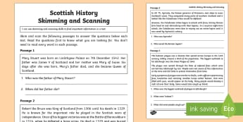 Scottish History Skimming and Scanning Activity Sheet - CfE, Literacy, reading comprehension strategies, tools for reading, reading strategies, skimming, sc