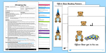 Officer Bear EYFS Adult Input Plan and Resource Pack - People who help us, Officer Bear, Police Officer, police station, hat, car, siren, dog, coat, light, help, save, rescue, emergency, 999