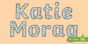 Katie Display Lettering - Requests CfE, Katie Morag display, Katie Morag stories, Mairi Hedderwick stories, Mairi Hedderwick,