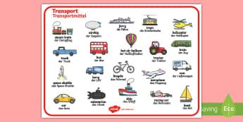 Transport Word Mat English/German - EAL, German, learning German, car, ship,German-translation