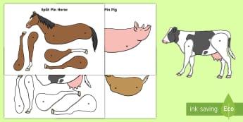 Farm Animals Split Pin Activity - farm animals, split pin, activity, pig, cow, sheep, dog, activities, pins, farms