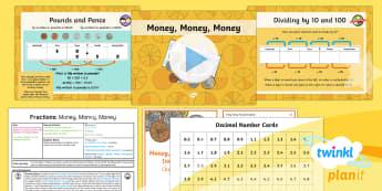 PlanIt Y4 Fractions Measure and Money Problem Solving (3) Lesson Pack - Decimal, decimal place, divide, tenths, hundredths, pounds, pence, order, ordering, investigation, S