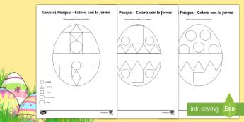 Uova di Pasqua colora con le forme Attività - uova, di, pasqua, italiano, italian, materiale, scolastico, forme, geometriche, 2D, pasquale