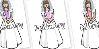 Months of the Year on Princesses - Months of the Year, Months poster, Months display, display, poster, frieze, Months, month, January, February, March, April, May, June, July, August, September