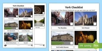 York Checklist Activity Sheet - Worksheet, city, sightseeing, landmarks, Yorkshire, visits, trips, family, holidays