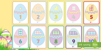 Easter Egg Number Shapes to 10 Display Posters - EYFS, Early Years, KS1, Easter, Easter eggs, Maths, Numeracy, number shapes, Numicon, number recogni