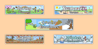 Seasons Banners Spanish Translation - spanish, Seasons, season, autumn, winter, spring, summer, fall, seasons activity, seasons display, four seasons, foundation stage, topic